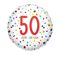 "50th Birthday Confetti 18"" Foil Balloon"