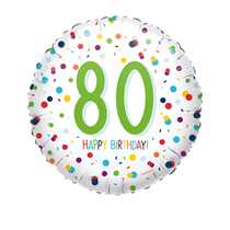 "80th Birthday Confetti 18"" Foil Balloon"