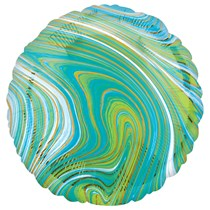 "Marblez Blue Green Round 18"" Foil Balloon"