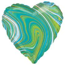 """Marblez Blue Green Heart 18"""" Foil Balloon"""