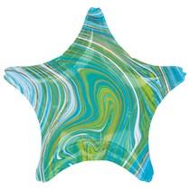 "Marblez Blue Green Star 18"" Foil Balloon"