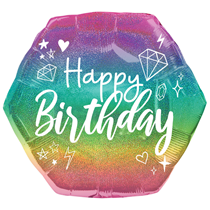 "Sparkle Birthday Holographic 23"" Supershape Foil Balloon"