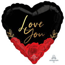 """Valentine's Love You Roses 18"""" Heart Foil Balloon"""