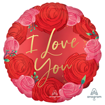 """Valentine's Love You Roses Round 18"""" Foil Balloon"""