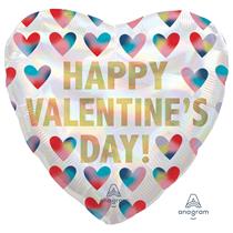 "Valentine's Iridescent Hearts 18"" Foil Balloon"