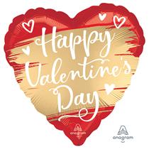 "Valentine's Gold Swoosh 18"" Heart Foil Balloon"
