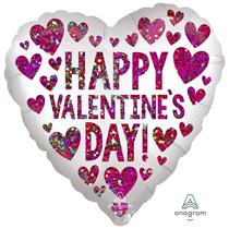 "Valentine's Sequin Hearts 18"" Foil Balloon"
