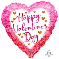 "Valentine's Watercolor 18"" Heart Foil Balloon"