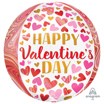 "Valentine's Marble 15"" Orbz Foil Balloon"