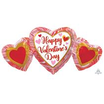 "Valentine's Marble Heart Trio 34"" Foil Balloon"