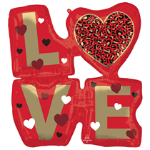 "Valentine's Love Animal Print 29"" Foil Balloon"