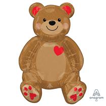 "Valentine's Sitting Bear 43"" Multi Foil Balloon"