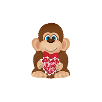 "Valentine Monkey 12"" Mini Shape Foil Balloon"