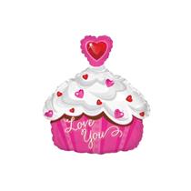 "Valentine Love You Cupcake 14"" Mini Shape Foil Balloon"