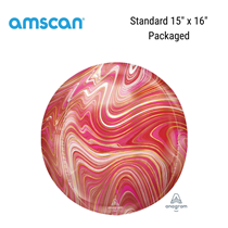 Red and Pink Marblez Orbz Foil Balloon
