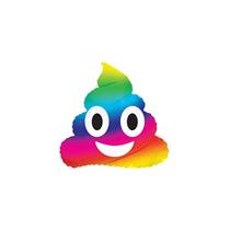 "Rainbow Poop Emoji 9"" Mini Air Fill Foil Balloon"