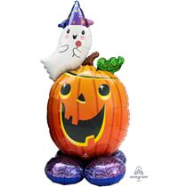 """Halloween Airloonz Pumpkin Ghost 56"""" Foil Balloon"""