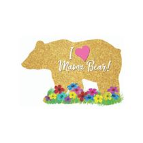 Gold Glitter Mama Bear Mini Shape Foil Balloon