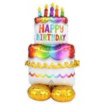 """AirLoonz Rainbow Birthday Cake 53"""" Foil Balloon"""