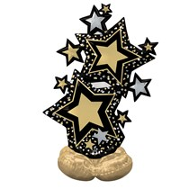 """AirLoonz Black & Gold Star Cluster 59"""" Foil Balloon"""