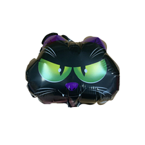 "Halloween Black Cat Face 9"" Mini Shape Foil Balloon"