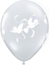 "Diamond Clear Love Doves 11"" Latex Balloons 25pk"