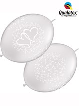 """Diamond Clear Entwined Hearts 12"""" Quick Link Balloons 50pk"""