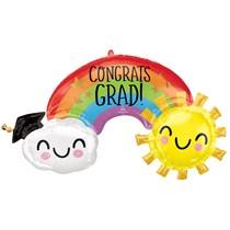 "Graduation Rainbow 41"" Supershape Foil Balloon"