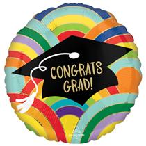"Congrats Grad Rainbow 18"" Foil Balloon"
