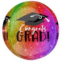 Graduation Ombre Sparkle Orbz Foil Balloon