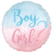 """The Big Reveal Boy or Girl Ombre 18"""" Foil Balloon"""