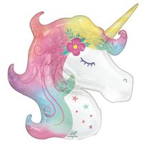 """Enchanted Unicorn 33"""" SuperShape Foil Balloon"""