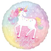 "Enchanted Unicorn Birthday Wishes 18"" Foil Balloon"
