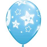 "Baby Moon & Stars 11"" Pale Blue Latex Balloons 6pk"