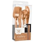 Rose Gold Premium Assorted Plastic Cutlery 32pk
