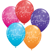 6 Happy Birthday Assorted Colour 11 Inch Latex Balloons
