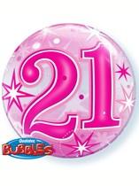 """Pink 21st Birthday Sparkle Bubble Balloon 22"""""""
