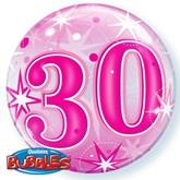 "Pink 30th Birthday Sparkle Bubble Balloon 22"""