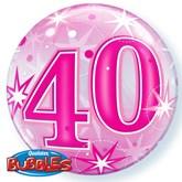 "Pink 40th Birthday Sparkle Bubble Balloon 22"""