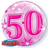 "Pink 50th Birthday Sparkle Bubble Balloon 22"""