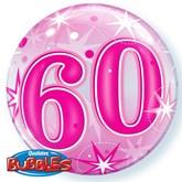 "Pink 60th Birthday Sparkle Bubble Balloon 22"""