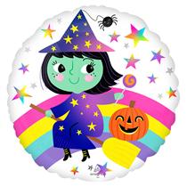 """Halloween Rainbow Witch 18"""" Foil Balloon"""