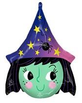 Halloween Witch Head Shape Foil Balloon