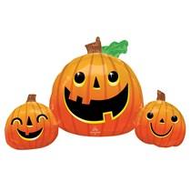 Halloween Smiley Pumpkins Supershape Foil Balloon