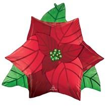 Christmas Poinsettia Supershape Foil Balloon
