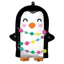Christmas Holiday Penguin Supershape Foil Balloon