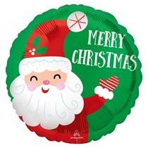 "Christmas Smiley Santa Satin 18"" Foil Balloon"