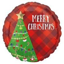 "Christmas Plaid Tree 18"" Foil Balloon"