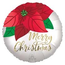 "Christmas Poinsettia 18"" Satin Foil Balloon"