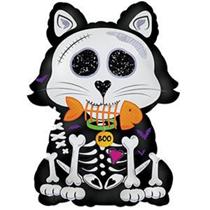 "Halloween Skeleton Cat 24"" Foil Balloon (Loose)"